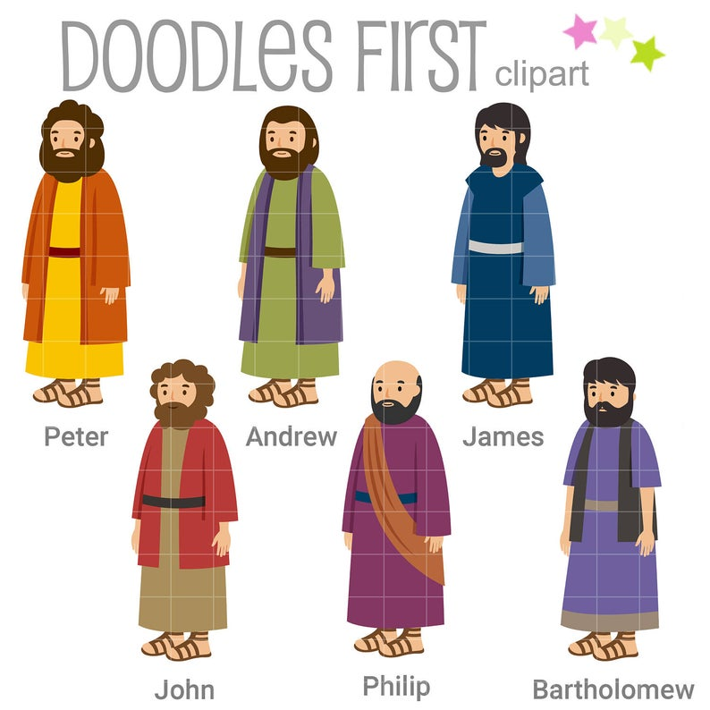 6 of the 12 Disciples Digital Clip Art for Scrapbooking Card Making Cupcake  Toppers Paper Crafts.