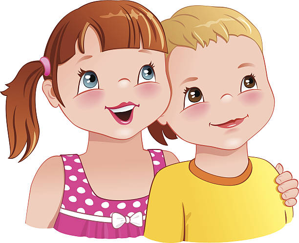Brother And Sister Hugging Clipart.