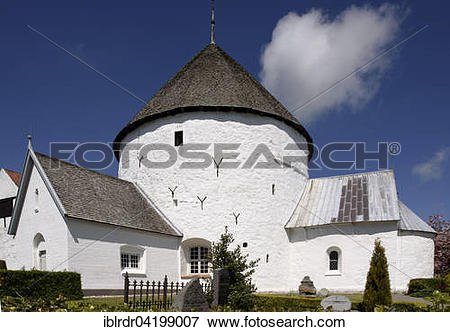 Picture of Romanesque round church Nylars Kirke, 12th century, on.