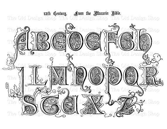 Alphabet Clip Art 12th Century Vintage by TheOldDesignShop on Etsy.