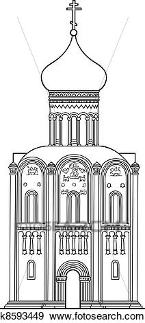 Clip Art of old Russian Orthodox church of the 12th century.