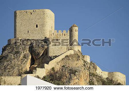 Stock Photography of 12th century moorish castle; olvera cadiz.