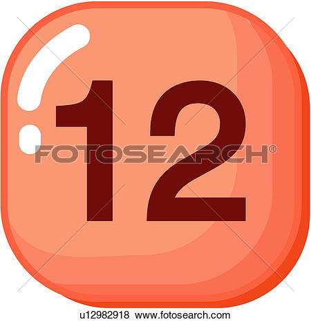 Clip Art of number, icon, logo, twelve, sign, 12 u12982918.