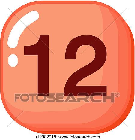 Clip Art of number, icon, logo, twelve, sign, 12 u12982918.