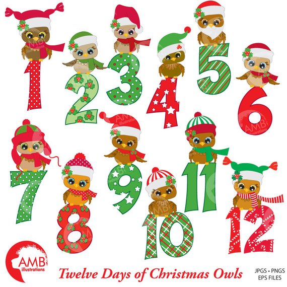 Christmas Clipart, Christmas Owls with Numbers Clipart, 12 Days of.
