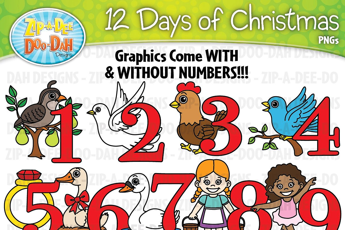 12 Days of Christmas Clipart Set.