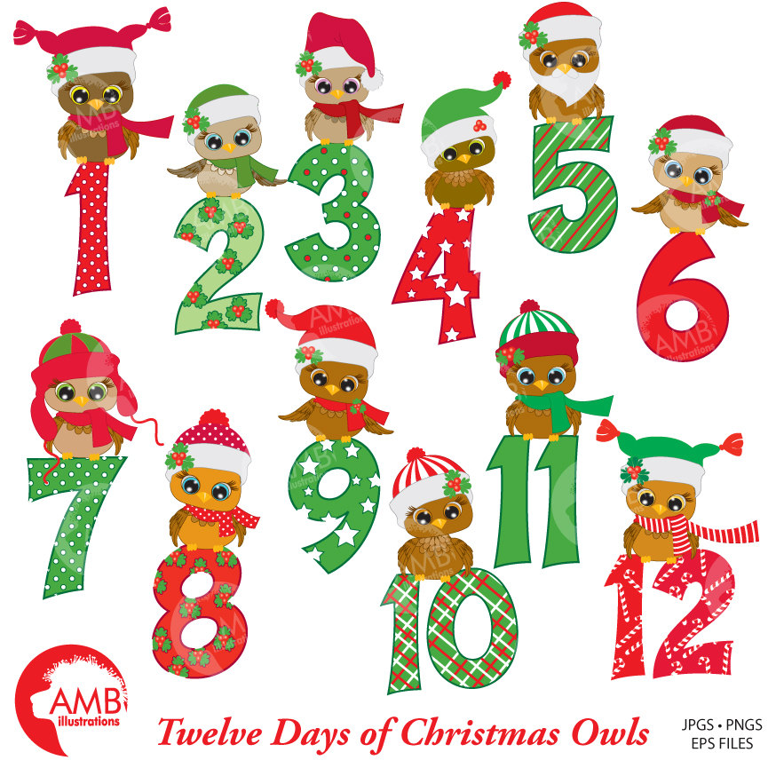 Christmas Clipart, Christmas Owls with Numbers Clipart, 12 Days of  Christmas, AMB.