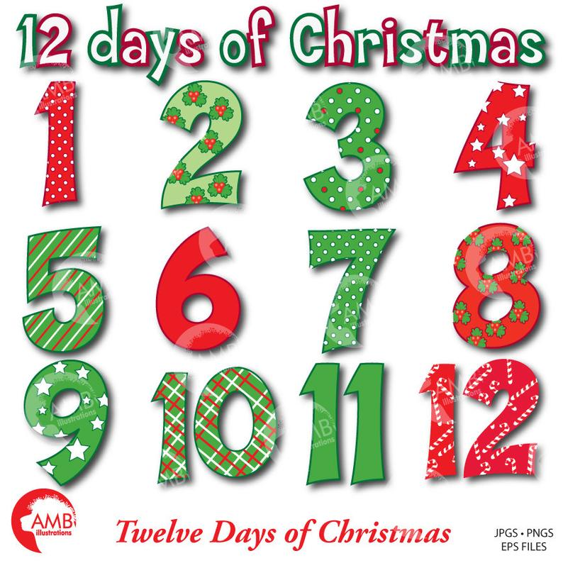 Christmas Numbers Clipart, Twelve Days of Christmas, Commercial Use,  instant download, AMB.