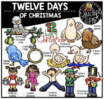 Twelve Days of Christmas Clip Art Bundle {Educlips Clipart}.