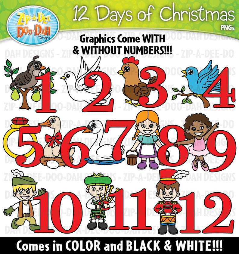 12 Days of Christmas Clipart Set {Zip.
