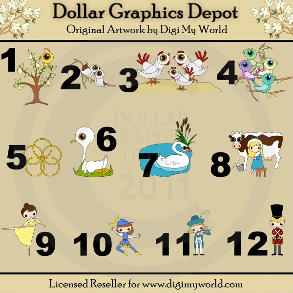 12 Days Of Christmas Clip Art., 12 Days Of Christmas Free Clipart.