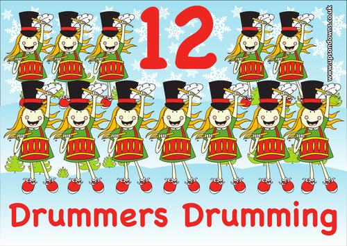 12 Drummers Drumming poster by UpsonDowns.