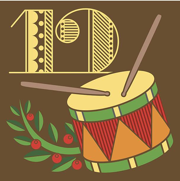 Twelve Drummers Drumming Illustrations, Royalty.