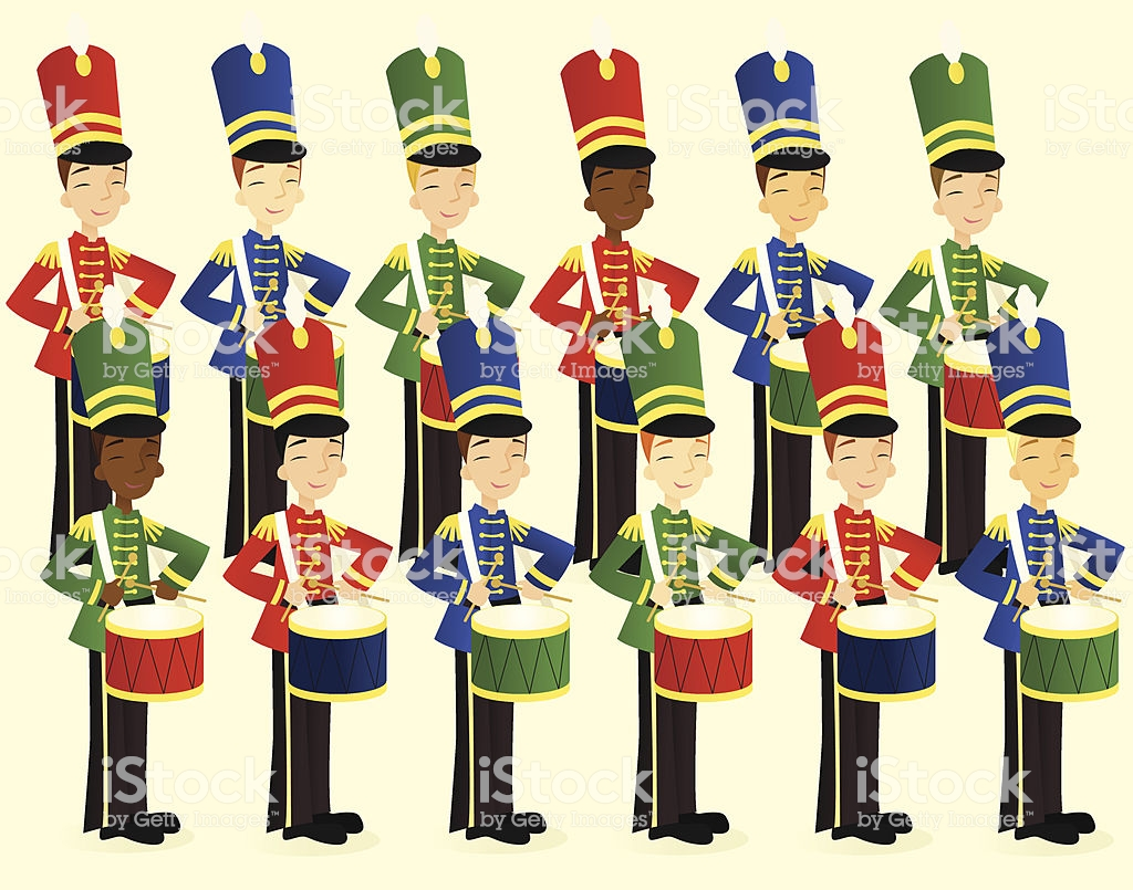 Twelve Drummers Drumming Stock Illustration.