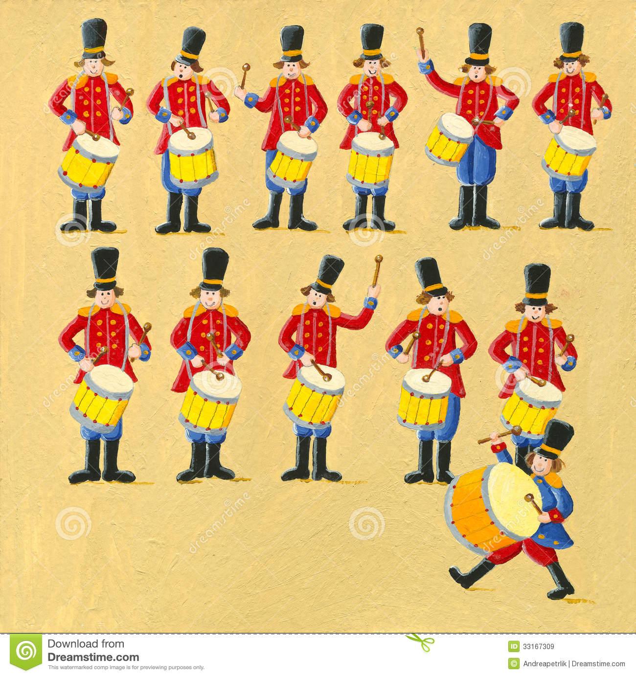 Twelve drummers drumming stock image. Image of education.