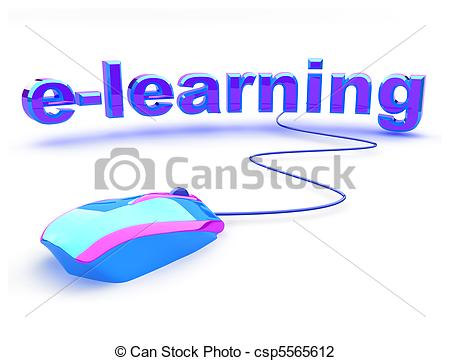 Clip Art of E learning text with mouse.