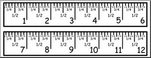 Clip Art: Ruler: 12 Inch by Eights Color I abcteach.com.