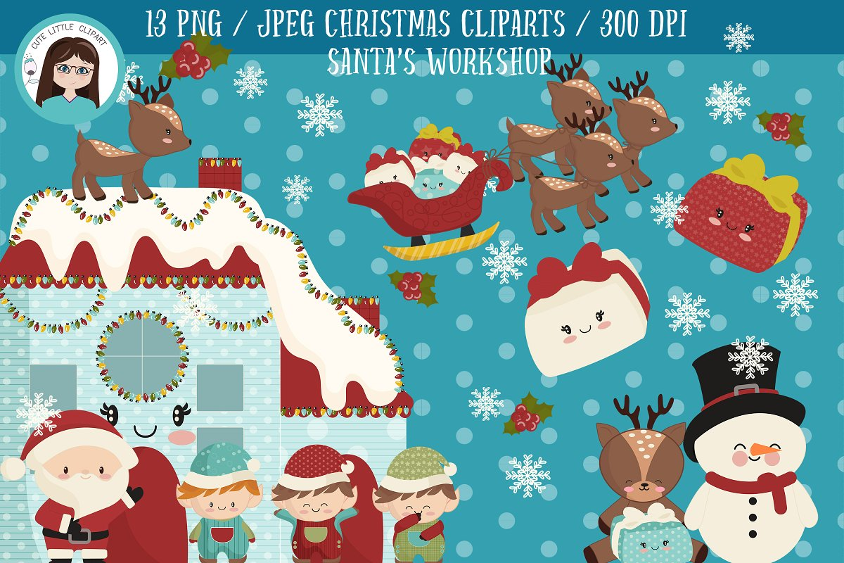 Santa\'s workshop clipart.