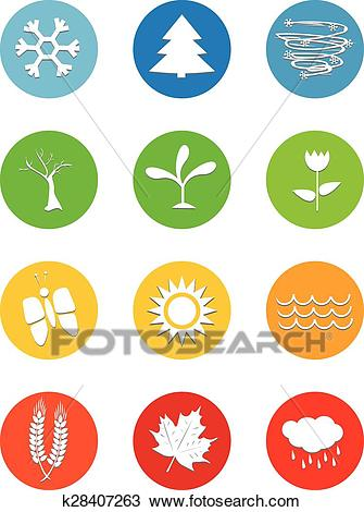 Set of 12 months calendar icons Weather four seasons Clipart.
