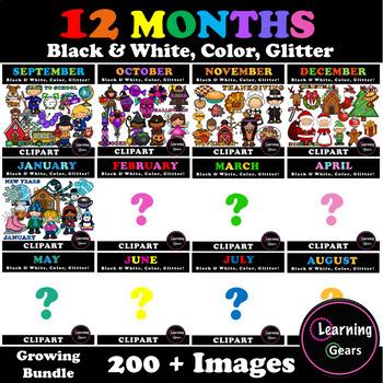 Month Clipart *GROWING BUNDLE*.
