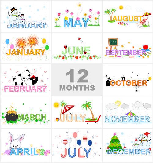 Months of the Year Printable Visual Aid.