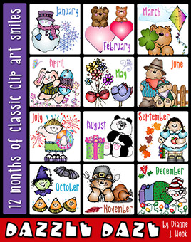 Dazzle Daze clip art for all 12 months by DJ Inkers.