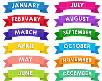 12 Month Ribbon Banners Digital Clip Art For Scrapbooking Card.