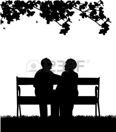 Lovely retired elderly couple sitting on bench in garden or.