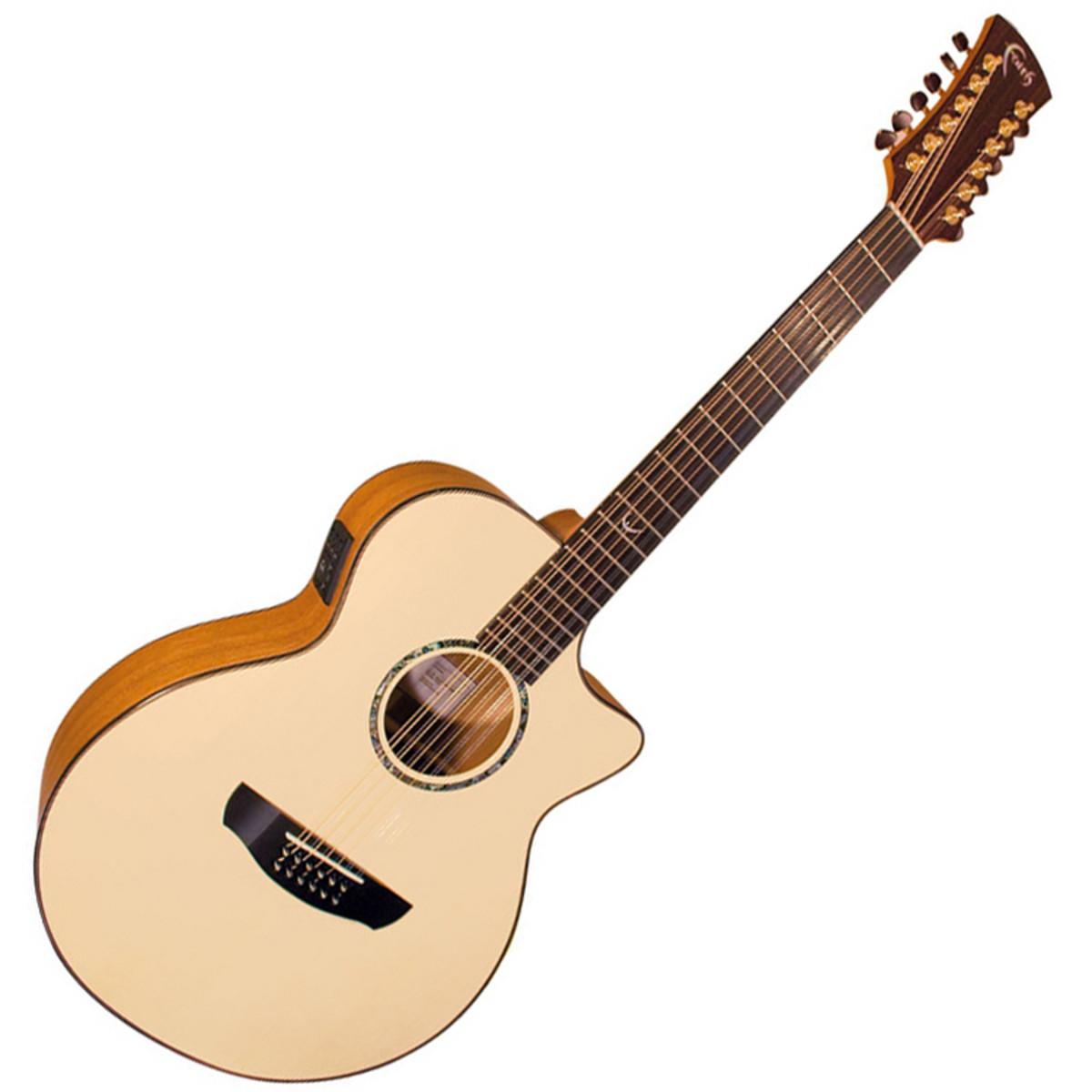 Faith Trembesi 12 String Cutaway Electro Acoustic Guitar, Natural.
