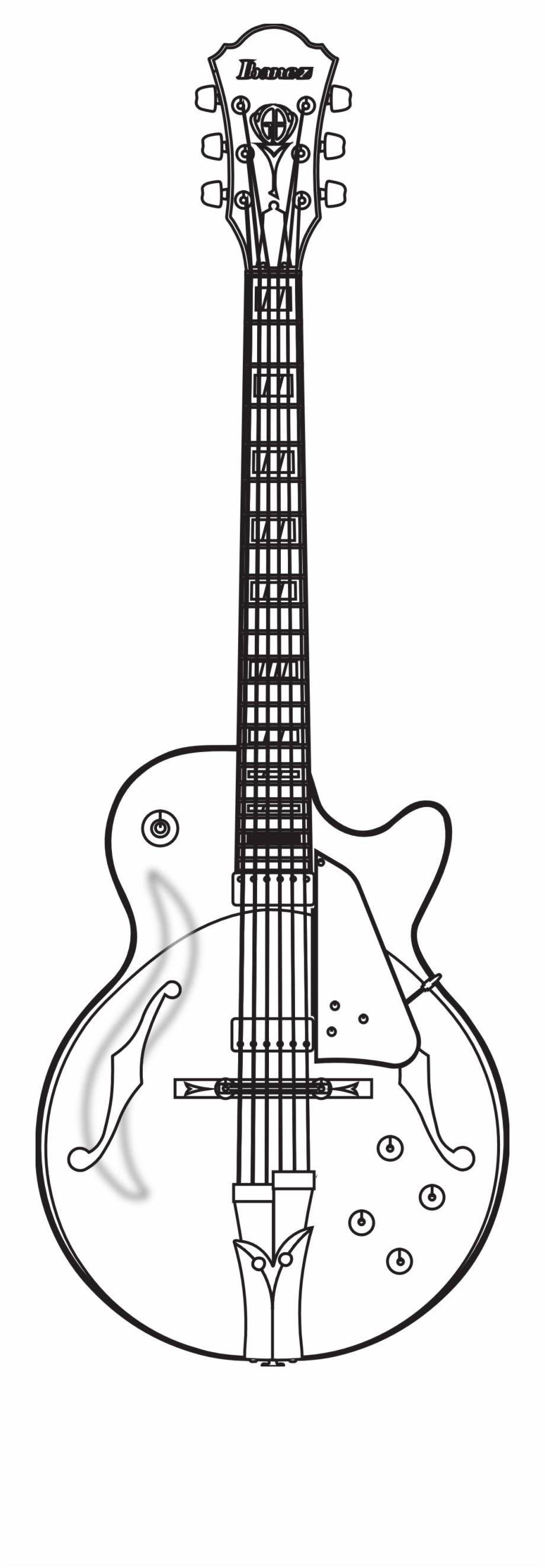Ibanez Gb Brut Guitar Black White Art Svg Colouringbook.