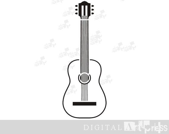 Acoustic Guitar Silhouette Guitar Clipart by DigitalArtPress.