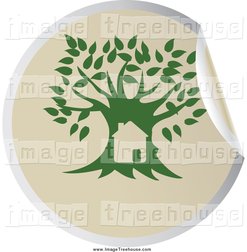 Clipart of a Peeling Green Tree Sticker by Eugene.