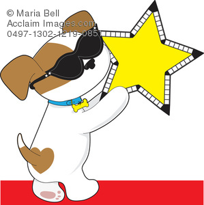 Clip Art Illustration of a Cute Puppy with a Star.