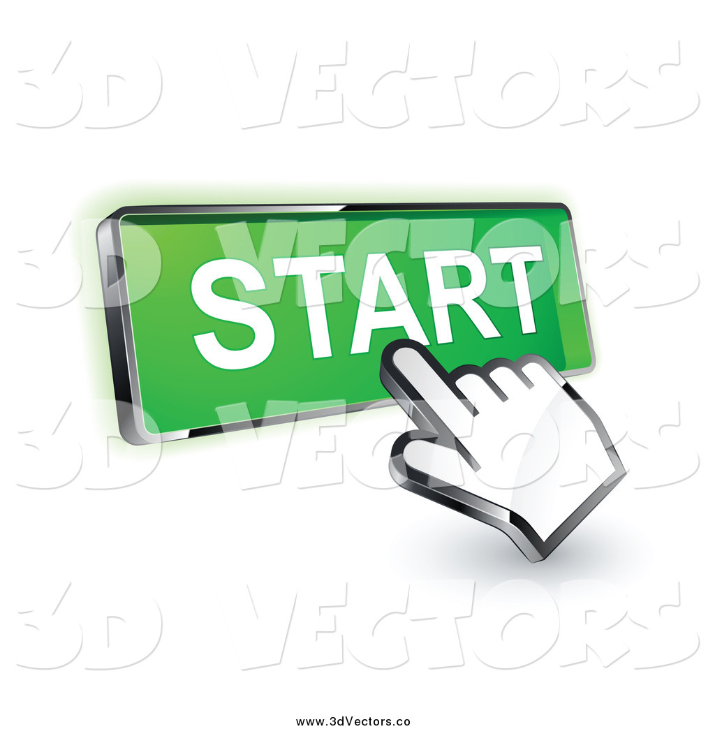 Vector Clipart of a 3d Hand Cursor on a Green Start Button by.