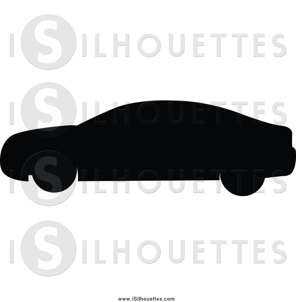 Clipart of a Silhouetted Black Car in Profile by JR.