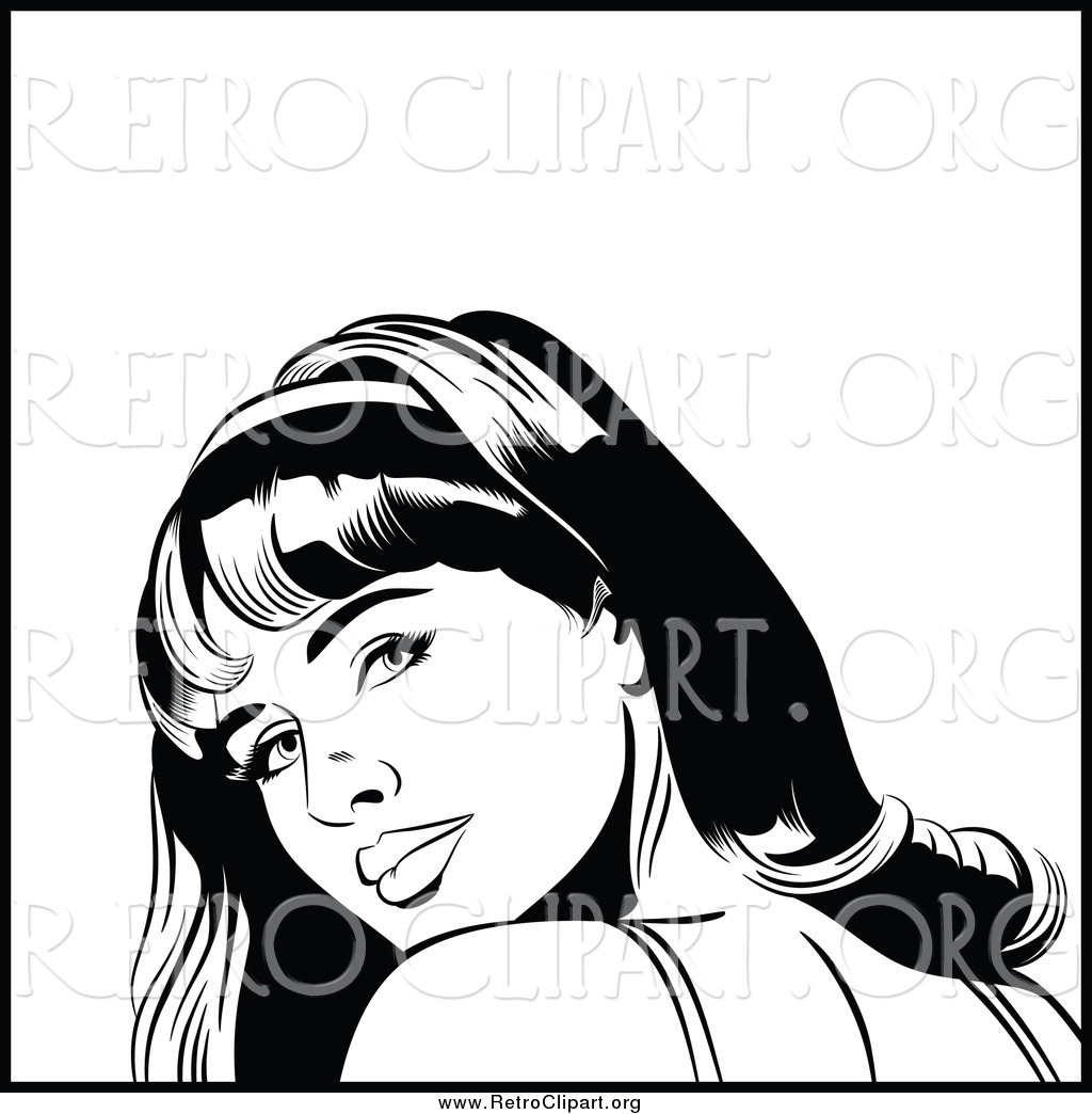 Clipart of a Black and White Retro Pop Art Woman Looking over Her.