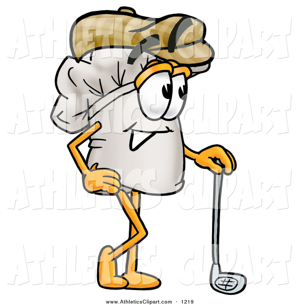 Clip Art of a Sporty Chefs Hat Mascot Cartoon Character Leaning on a.