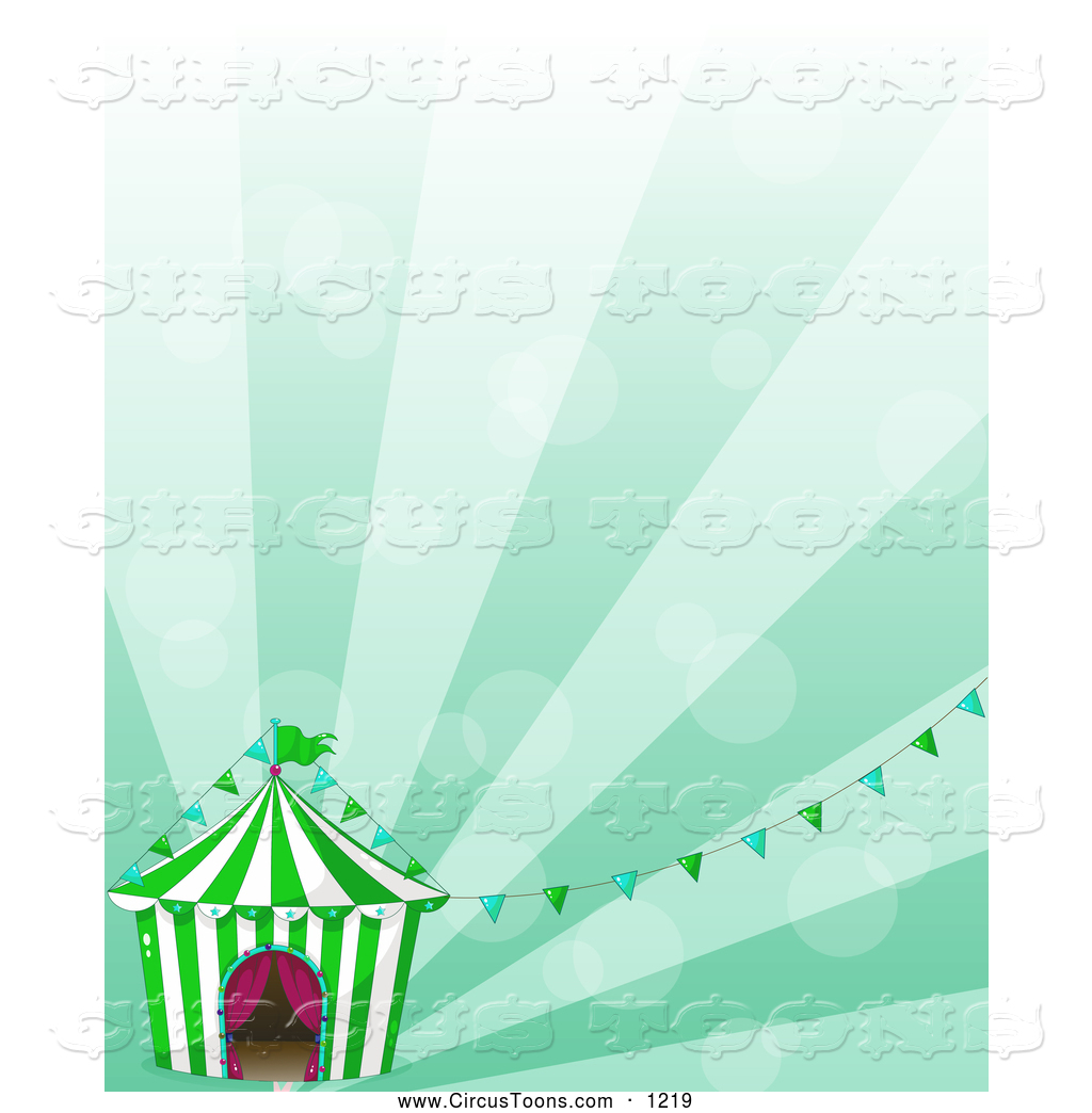 Circus Clipart of a Cirucs Big Top and Banners over Green Rays by.