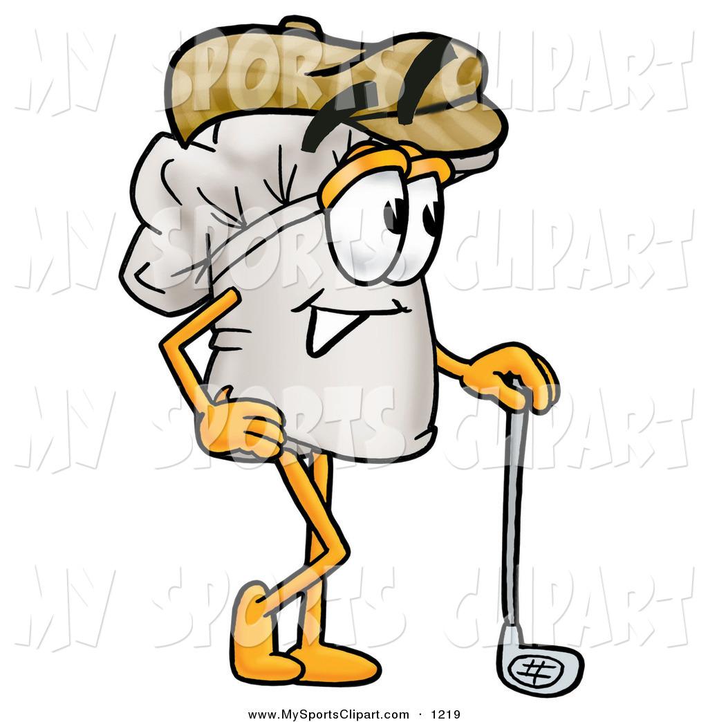 Sports Clip Art of a Happy Chefs Hat Mascot Cartoon Character.