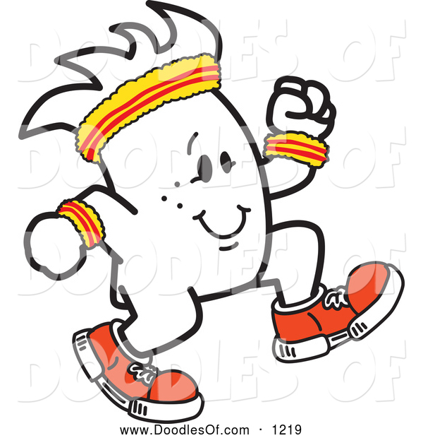 Vector Clipart of a Squiggle Guy Jogger by Toons4Biz.
