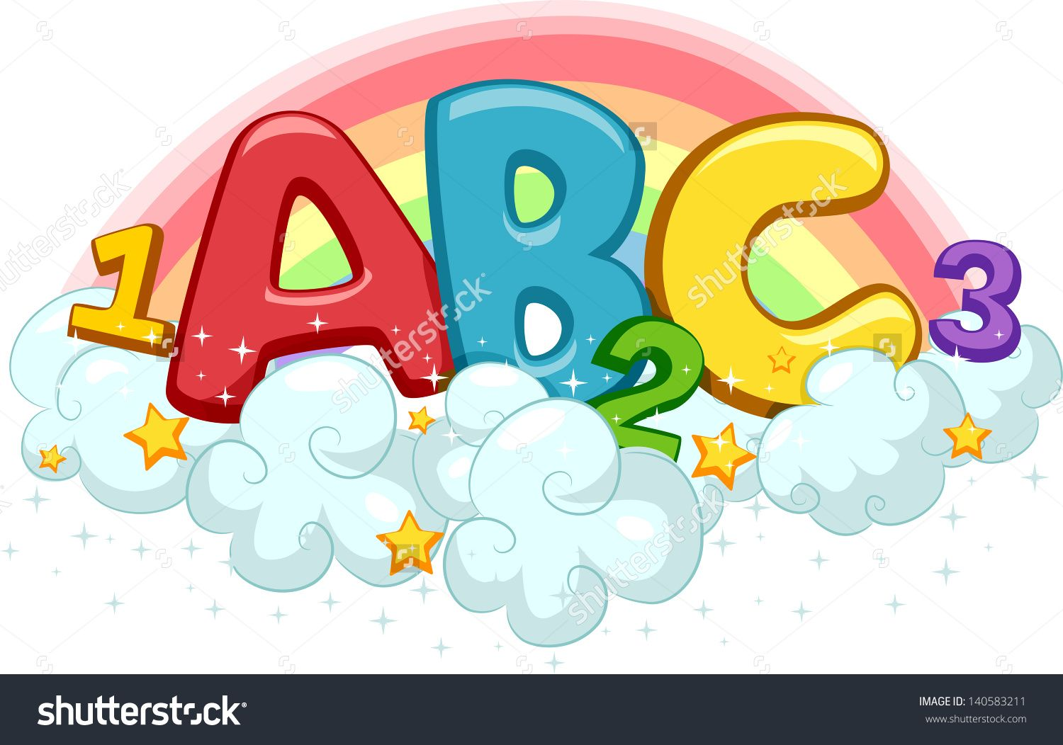 Illustration Of Abc And 123 On Clouds With Stars And Rainbow.