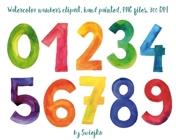 Watercolor Numbers, hand painted clipart, 123, counting illustration.