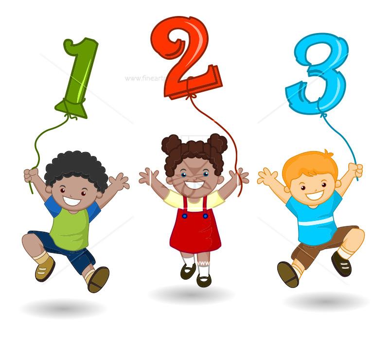 Cartoon Kids Holding 123 Numbers.