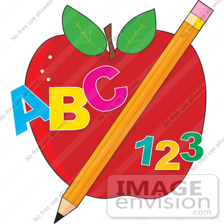 Clip Art Graphic of ABC and 123 With a Pencil in Front of an Apple.