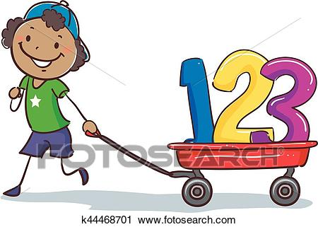 Stick Black Boy Pulling wagon with 123 Clipart.