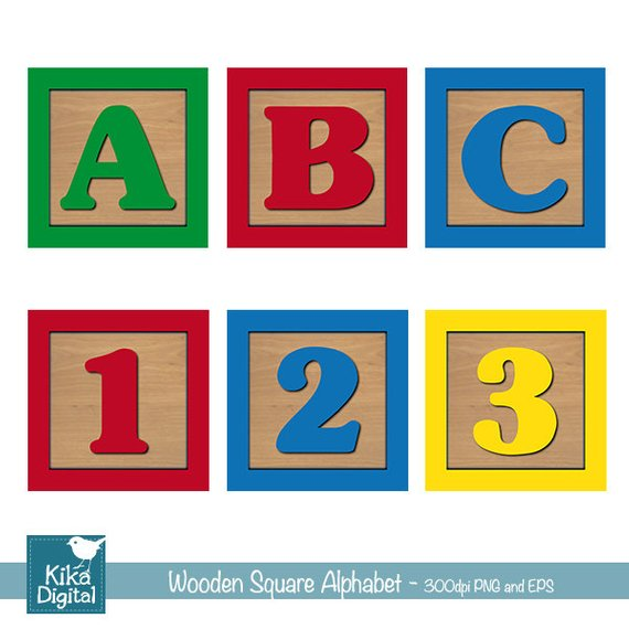 Baby Blocks Alphabet and Numbers Digital Clipart, Wooden.