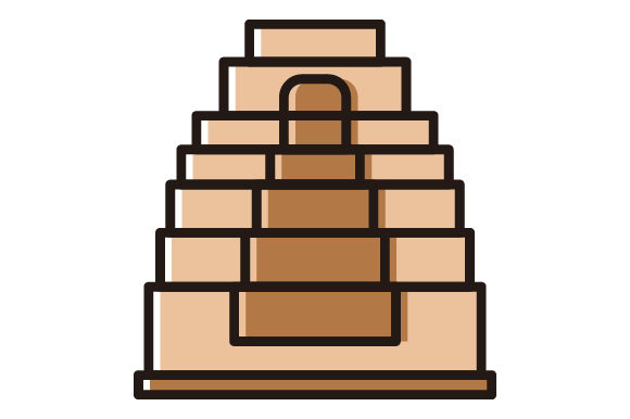 Pyramid Tower Filled Line Icon.