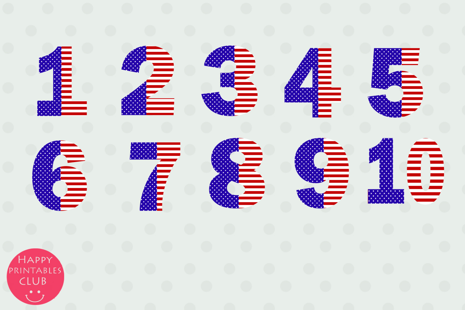 July 4 Stars and Stripes Alphabets Numbers Clipart Graphics.