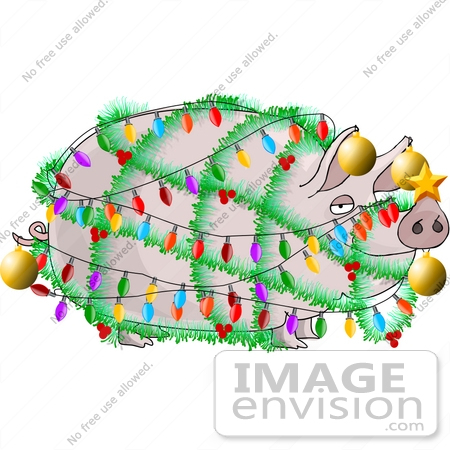Pig Decorated Like a Christmas Tree Clipart.