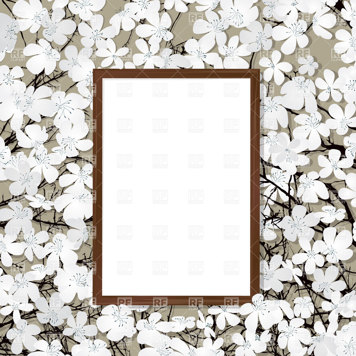 Empty wooden frame and blooming cherry Vector Image #12548.